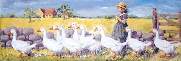 Gänseparade auf Leinwand 20x50cm Easy Painting