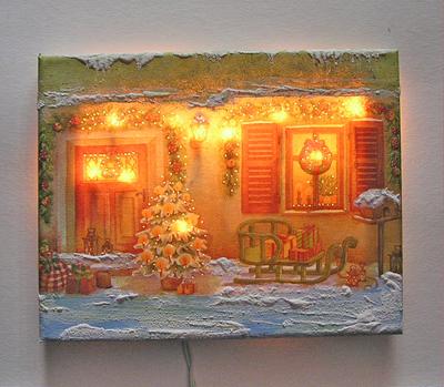 Haus mit Schlitten, mit Beleuchtung