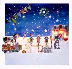 Haus im Schnee, mit Beleuchtung