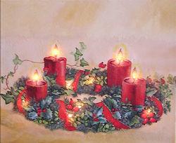 Adventskranz auf Leinrand 24x30cm mit Beleuchtung