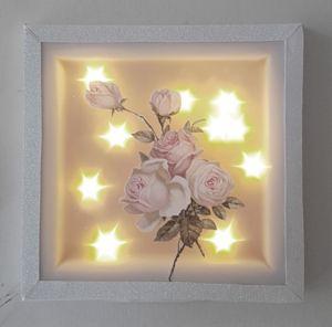 Bild aus Keilrahmen 20x20cm, mit Effektfolie, Serviette und 10er.Lichterkette mit Timer.
