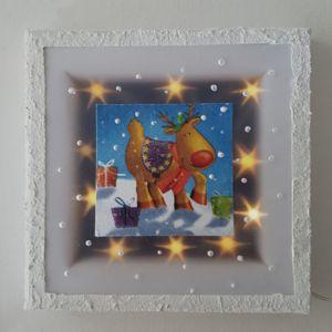 Bild aus Keilrahmen 15x15cm, mit Effektfolie, Serviette und 10er.Lichterkette