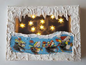 Bild auf Keilrahmen 15x20cm, mit Effektfolie, Serviette und 10er.Lichterkette mit Timer