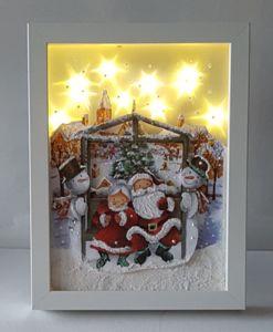 Bild mit Ikea-Rahmen mittel,mit Effektfolie, Serviette(über das Glas) und 10er.Lichterkette mit Timer.