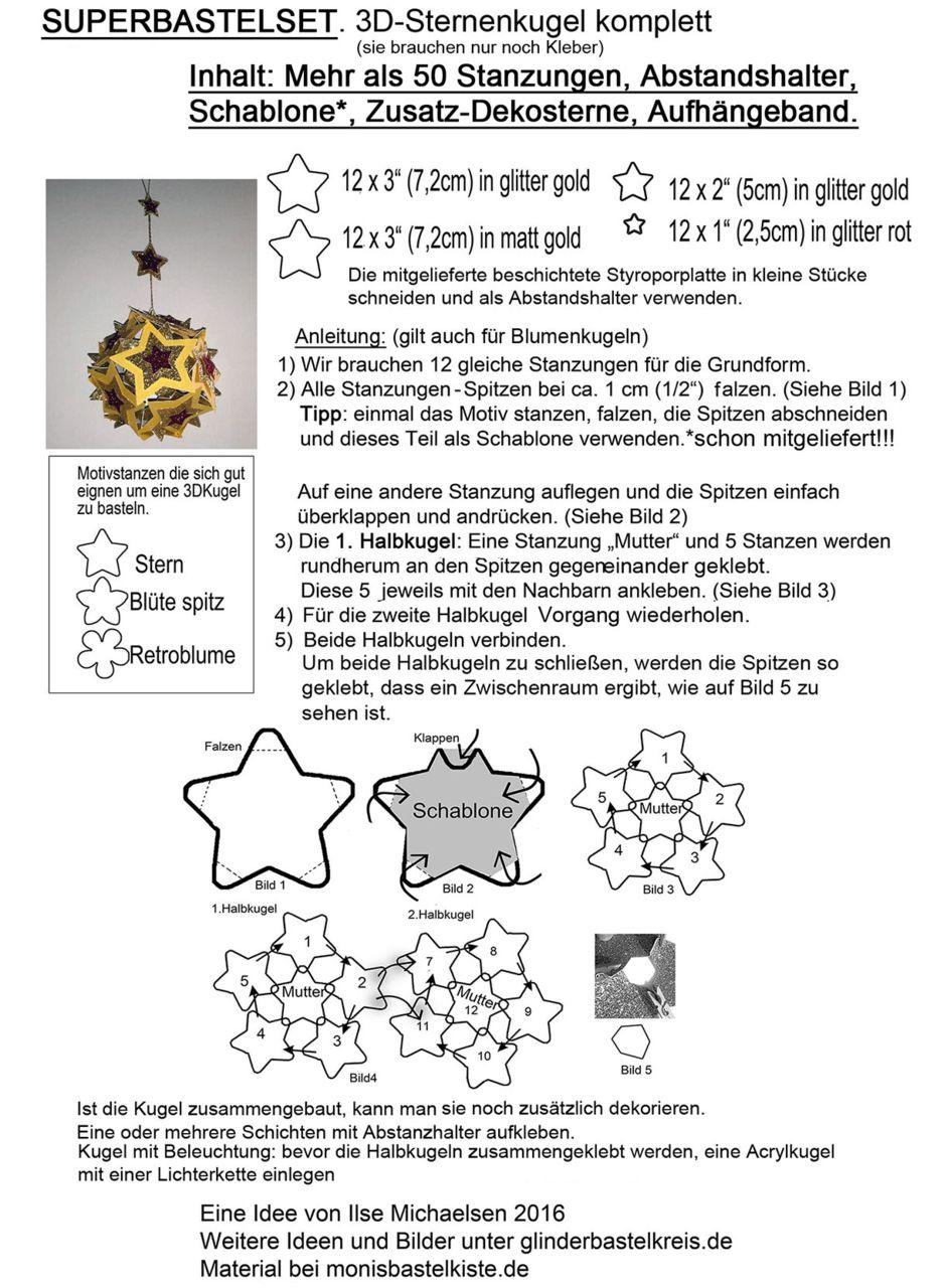 3D-Sternenkugel-Bastelset mit Anleitung