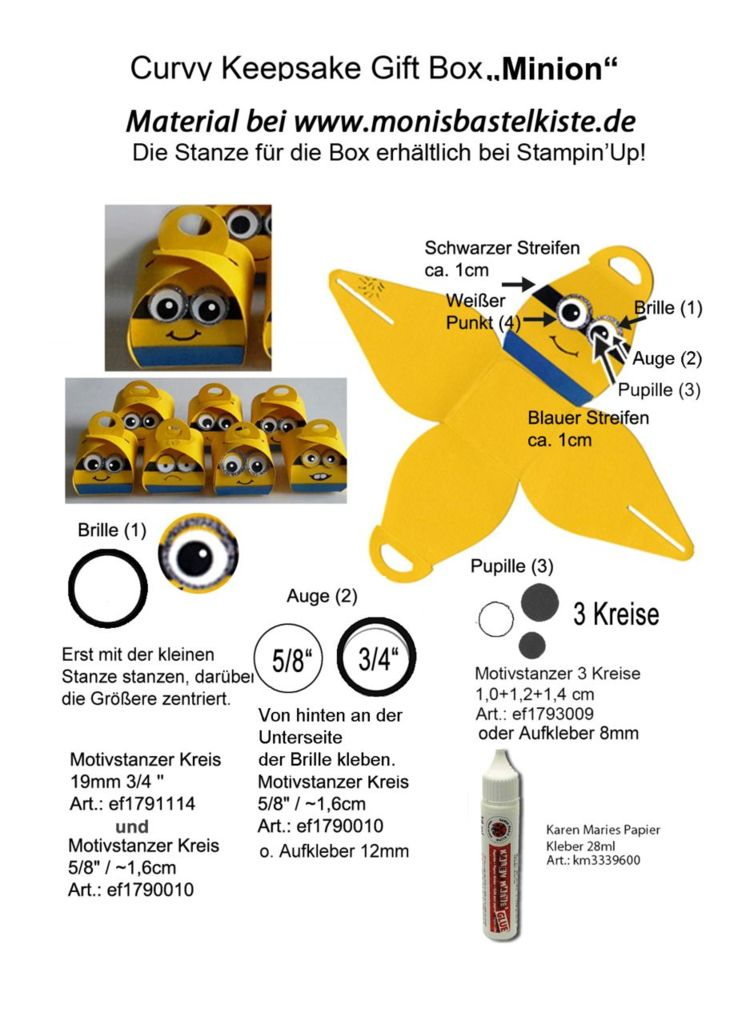Curvy Keepsake Gift Box  Minion mit Stanzen
