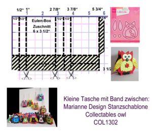 MARIANNE DESIGN COL1302 Eulentasche-Vorlage