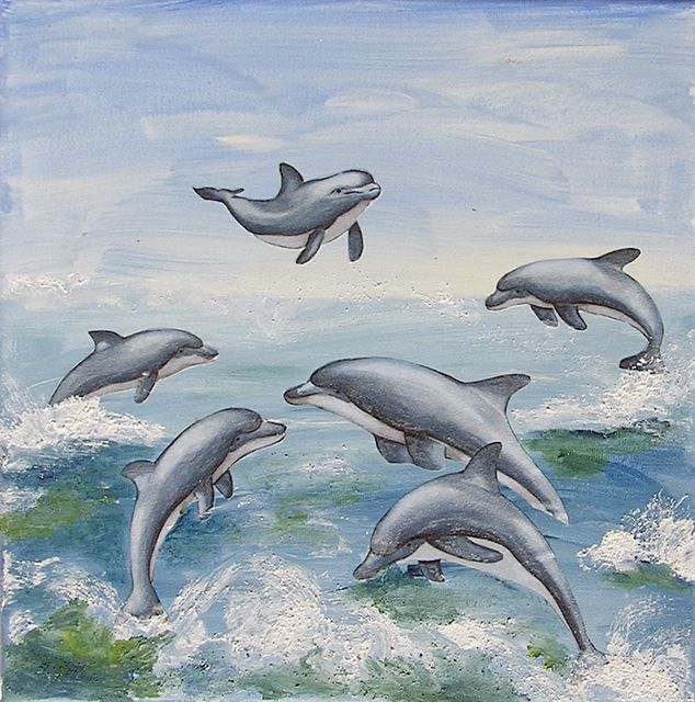 Delphine aus Tapetenbordüre mit Easy Painting überarbeitet
