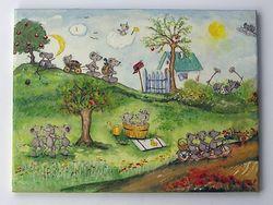 Mäuse im Sommer, aus Tapetenbordüre-Ausschnitte und mit Easy-Painting überarbeitet.VERKAUFT