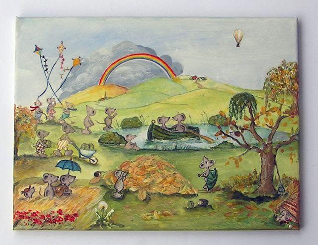 Mäuse im Herbst, aus Tapetenbordüre-Ausschnitte und mit Easy-Painting überarbeitet.VERKAUFT