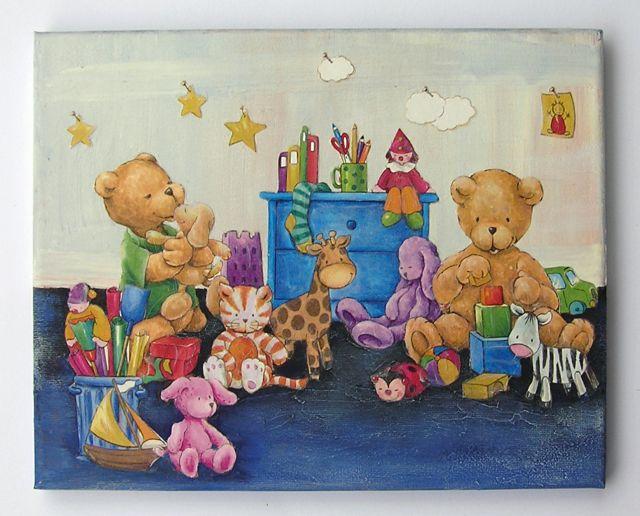 Zwei spielende Teddy, mit Tapetenbordüre un d Easy-Psainting überarbeitet