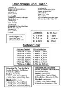 Tabelle für Umschläge+Hüllen mit Ultimate oder Evenveloper