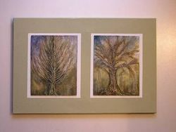 Zwei Bilder mit Baum und Reliev auf ein Keilramen 40x60cm